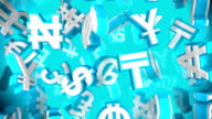 Loopable Blue World Currency Symbols Falling By