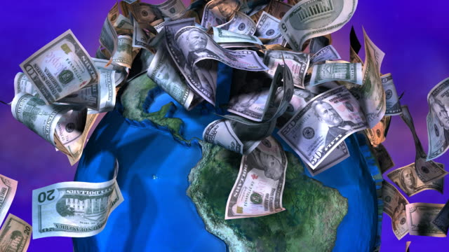 Loopable, Close-up of Falling USA currency on spinning Earth