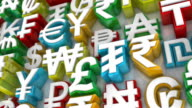 Loopable Colorful World Currency Symbols Scrolling By