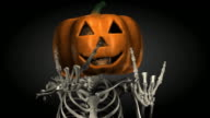 Loopable, Halloween, Skeleton with Pumpkin Head