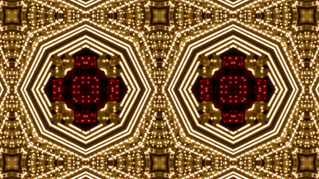 Loopable Kaleidoscope White and Red Chasing Lights Frame