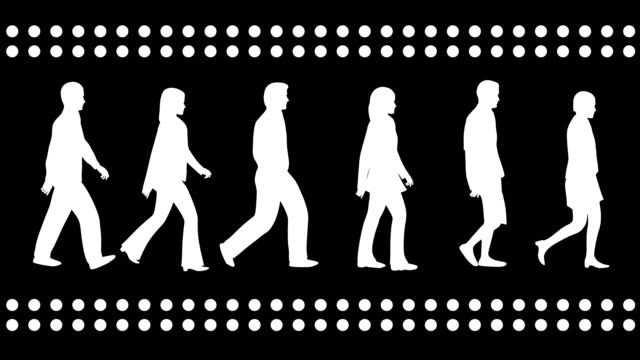 Loopable silhouettes of 3 men and 3 women walking.