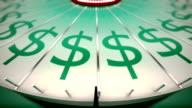 Loopable rotazione Ruota della fortuna con dollari.