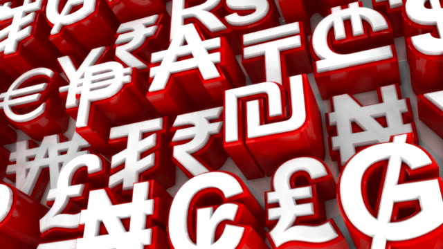 Loopable World Currency Symbols Scrolling By