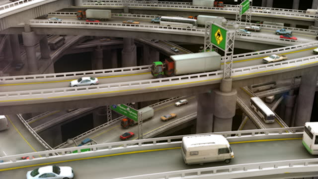 Endlos wiederholbar, nimm den Zoom heraus der Crazy Autobahn-Verkehr