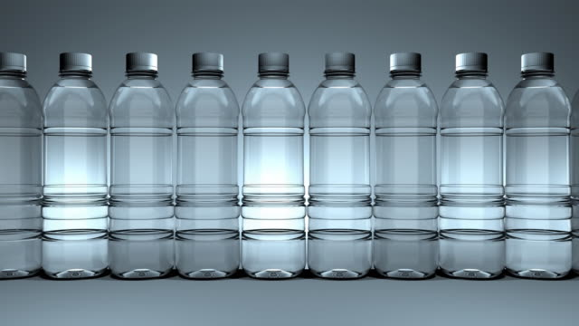 Loopable,Water bottles slowly moving from right to left