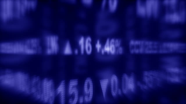Looping Blue Stock Ticker - Shallow DOF (1080/30P)