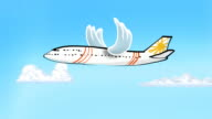 Looping cartoon plane with flapping bird wings