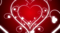 Looping Hearts Grow Background Red
