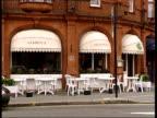Mary Archer gives evidence LIB Sloane Square GV Sambuca Restaurant MS 'Sambuca' on awning