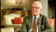 Lord Carrington interview Carrington interview SOT Cutaways of Jon Snow interviewing Carrington