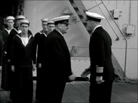 Lord Hailsham visits HMS Forth in Port Said EGYPT Port Said Lord Hailsham boarding HMS Forth salutes to officer then onto deck and salutes and shakes...