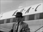 Lord Lloyd arrives back at London Airport following trip to Aden ENGLAND London Airport EXT Lord Lloyd towards down steps from plane / CMS Lloyd T/X...