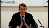 Lord Mandelson Ian Pearson and Shriti Vadera press conference Lord Mandelson answers question on CBI Director General's comments that problem was...
