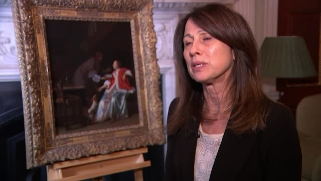 Lord Mayor returns looted Nazi art to daughter of its original owner ENGLAND London Mansion House INT Anne Webber set up shot with reporter /...