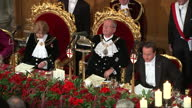 Lord Mayors banquet Guildhall CLEAN Interiors of David Cameron Alan Yarrow lord Mayor of London Fiona Woolf at Lord Mayor banquet National Anthem...