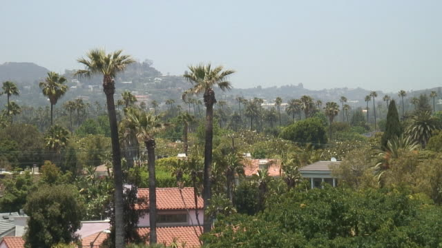 (HD1080i) Los Angeles: Beverly Hills Green, Rooftops and Trees