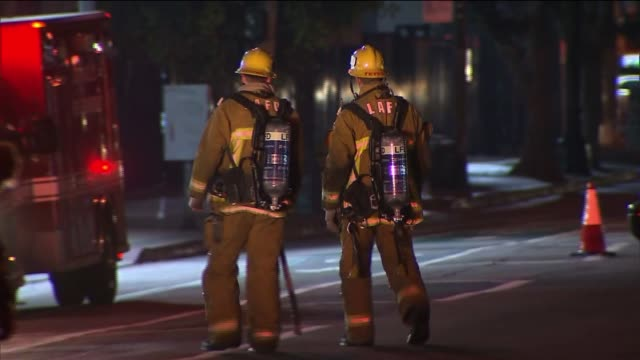 Los Angeles City Fire Engines on Street on December 14 2013 in Los Angeles California