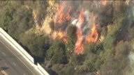 Los Angeles County Firefighters Fight Cliff Brush Fire in Pacific Palisades on January 14 2014 in Calabasas California