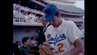 Los Angeles Dodgers Celebrity Baseball 1965 vintage footage Dodger manager Walter Alston Yogi Berra Maury Wills Don Drysdale Sandy Koufax Phyllis...