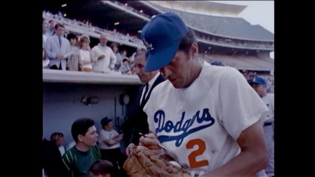Los Angeles Dodgers Celebrity Baseball 1965 vintage footage Dodger manager Walter Alston Yogi Berra Maury Wills Don Drysdale Sandy Koufax Phyllis...
