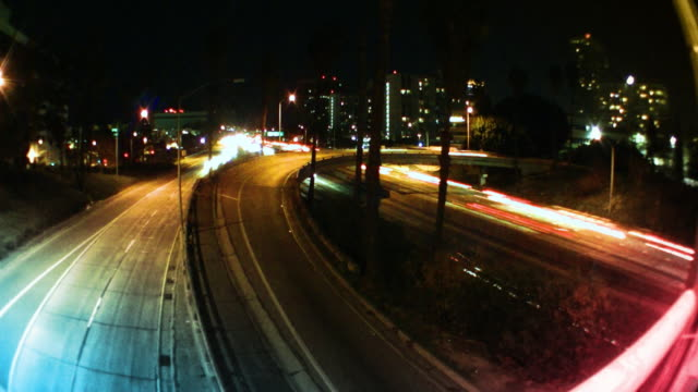 Los Angeles Freeway Traffic at Night