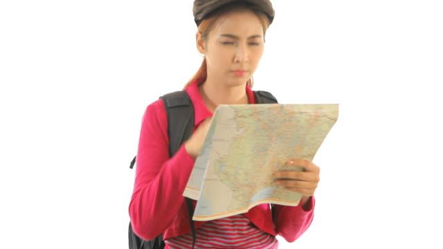 Verlorene Frau mit Karte