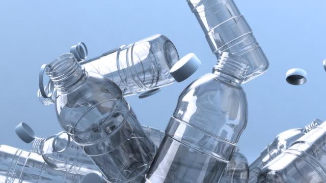 Lots of falling water bottles