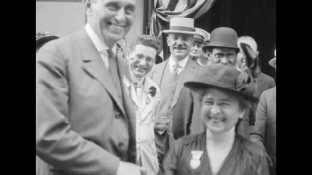 Louis Brandeis nominee to the Supreme Court of the United States shakes hands and greets people in his home town of Boston / exact month/day not...