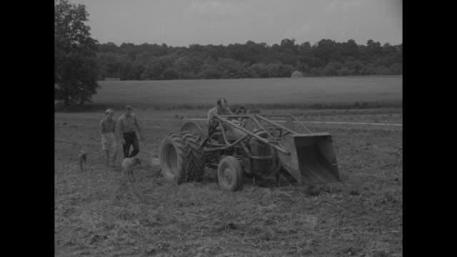 VS Louis Bromfield conservationist and author passes camera on his tractor / tractor and machinery making hay bales / a young couple and two Boxer...