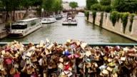 Love locks on a bridge in Paris, France
