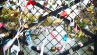 Love padlocks on a Paris bridge, Paris, France