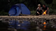 HD SLOW MOTION: Loving Couple Camping