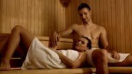 HD DOLLY: Loving Couple In The Sauna