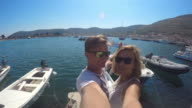 WS Loving couple taking selfie at the marina