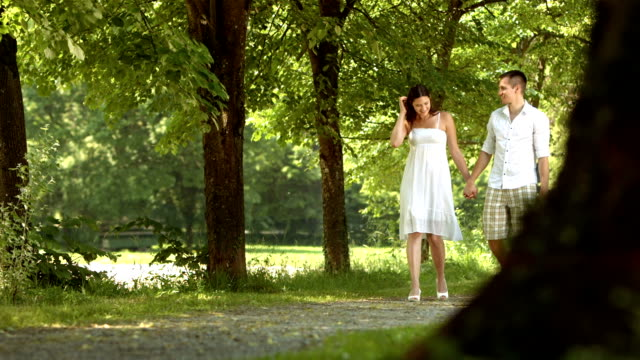HD DOLLY: Loving Couple Walking In The Park