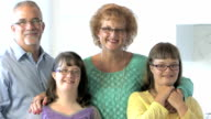 Loving family with two down syndrome children