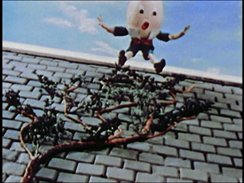 ANIMATION low angle close up Humpty Dumpty falling off wall and breaking / AUDIO