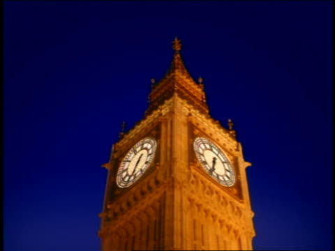 Low Angle Close Up Time Lapse Big Ben Clock At Night ...