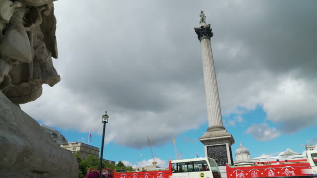 Low angle long shot of Nelson's Column.