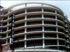 1956 Low angle medium shot concentric, multil-level parking garage / San Francisco, California