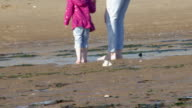 low angle of mum and daughter walk barefoot on the beach