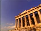 low angle PAN Parthenon / Athens, Greece