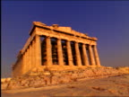 low angle Parthenon under blue sky / Athens, Greece