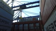 Low angle shot of a crane lifting metal containers off the deck of a container ship at the port of Felixstowe