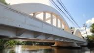 MS Low angle shot of bridge / Haleiwa, Hawaii, United States