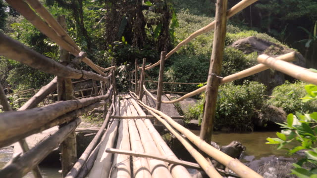 low angle view: bamboo made bridge
