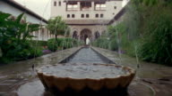 Low angle wide fountains at Generalife Gardens/ Alhambra, Spain