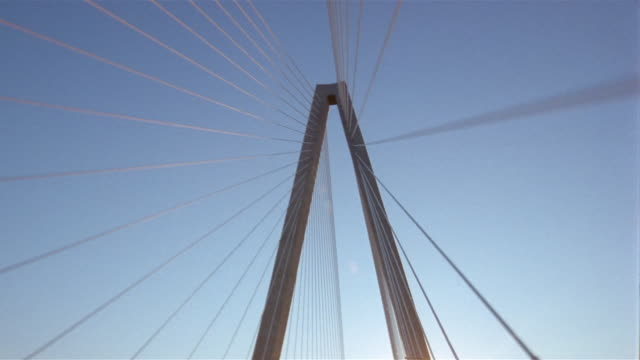 Low angle wide shot point-of-view driving under Cooper River Bridge/ Charleston, South Carolina