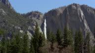 Low angle wide shot view of Yosemite Falls / Yosemite National Park, California